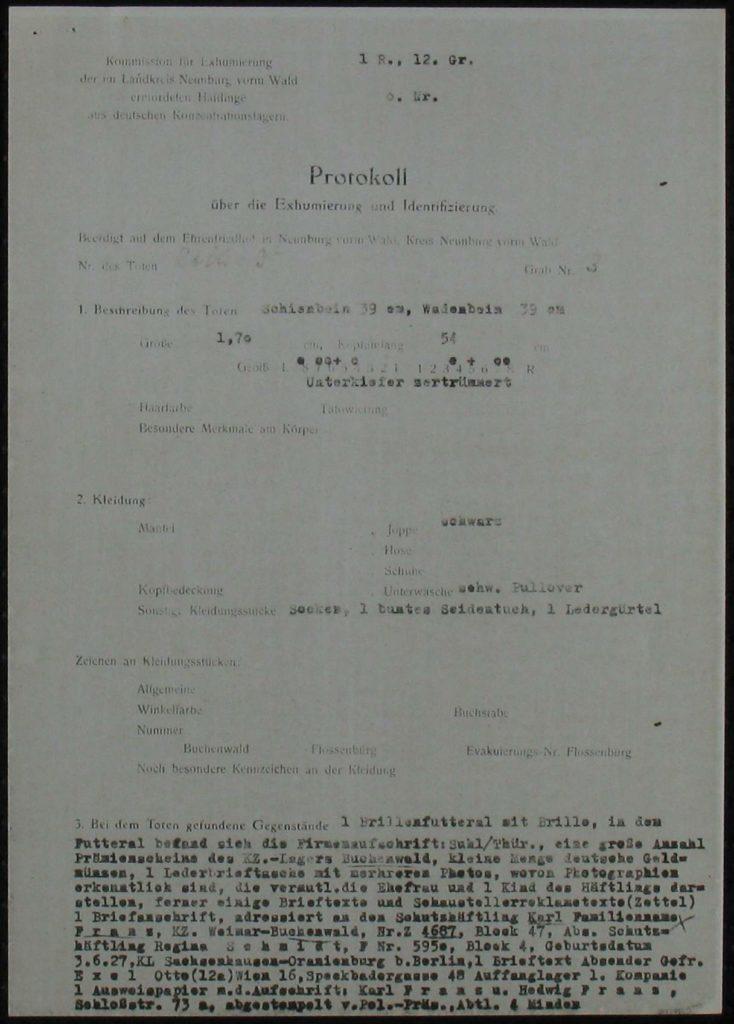 Exhumation Protocol, October 1949