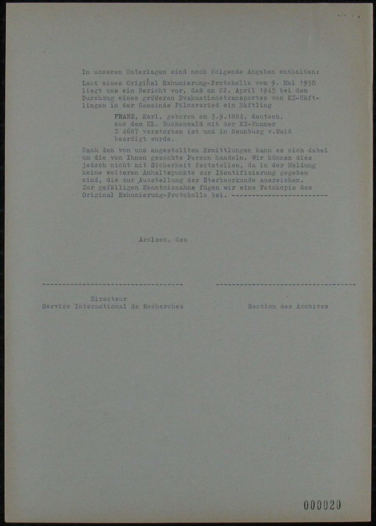 Karl Franz certificate of incarceration