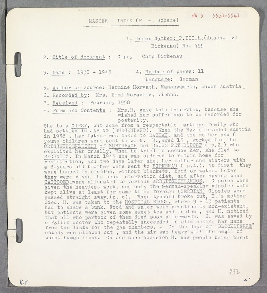 A typed eyewitness testimony detailing experiences of the Holocaust