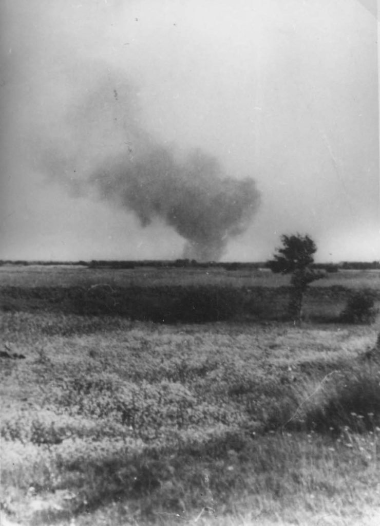 A photograph of smoke in the distance - Treblinka Uprising