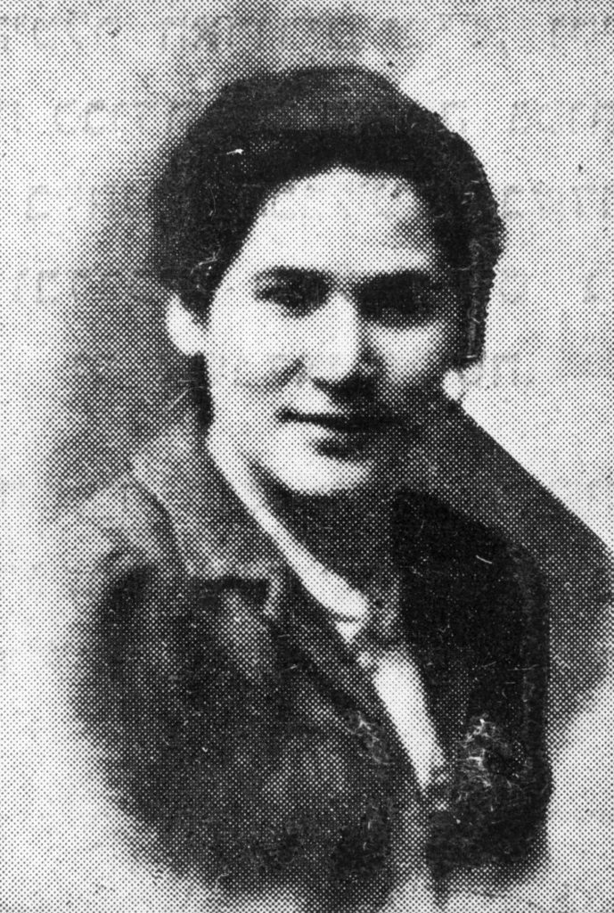 A black and white photograph of a female Jewish resistance fighter