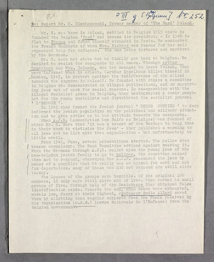 Eyewitness report of resistance activities during the Holocaust