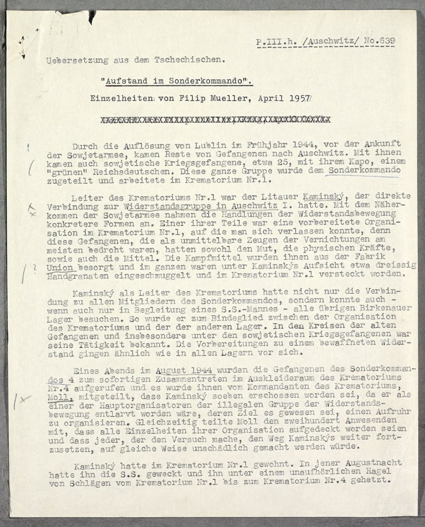 A typed up testimony from a Jewish resistance