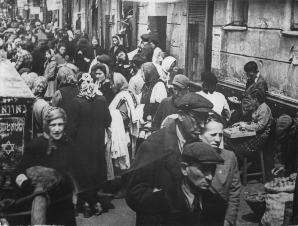 Scenes of an outdoor market in the Warsaw Ghetto