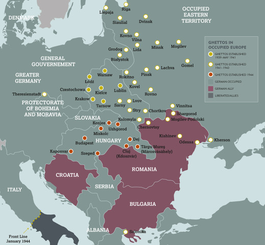Map of the Nazi established ghettos in Europe