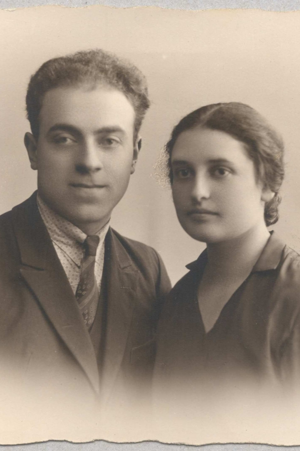 A family photograph of a husband and wife