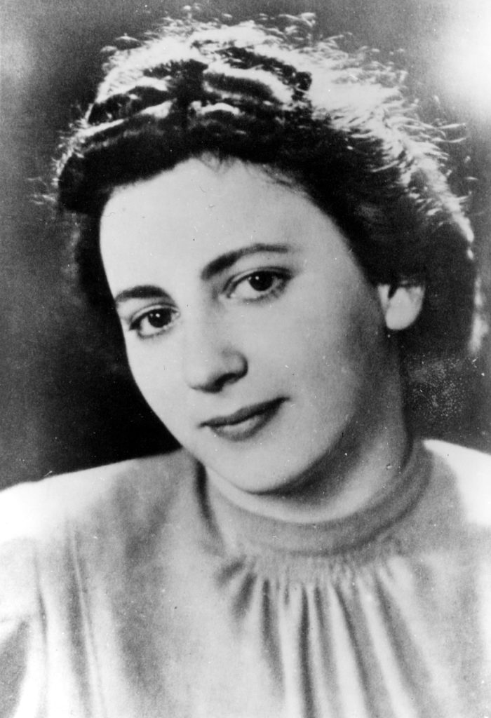 Black and white portrait of a female resistance fighter