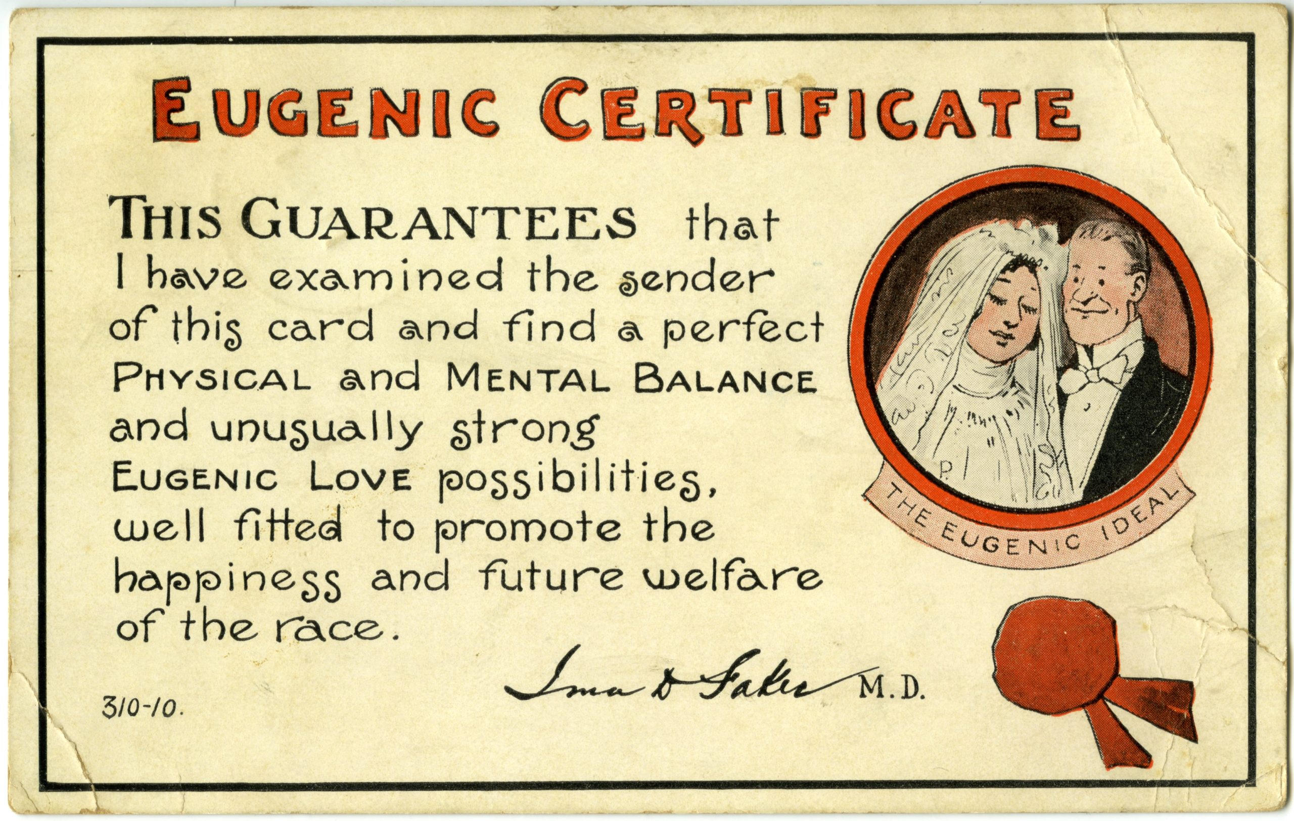 Eugenic certificate from the 1900s