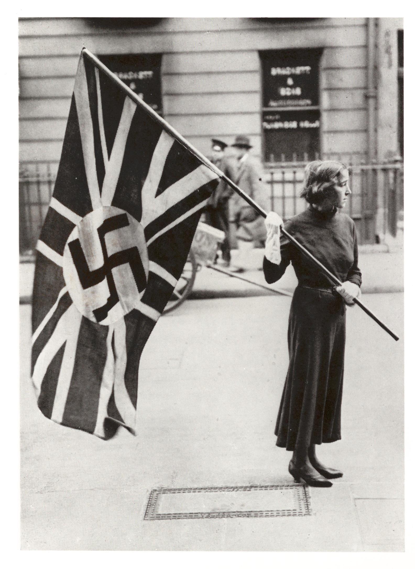 Lady flying British Union of Fascist flag 1930s