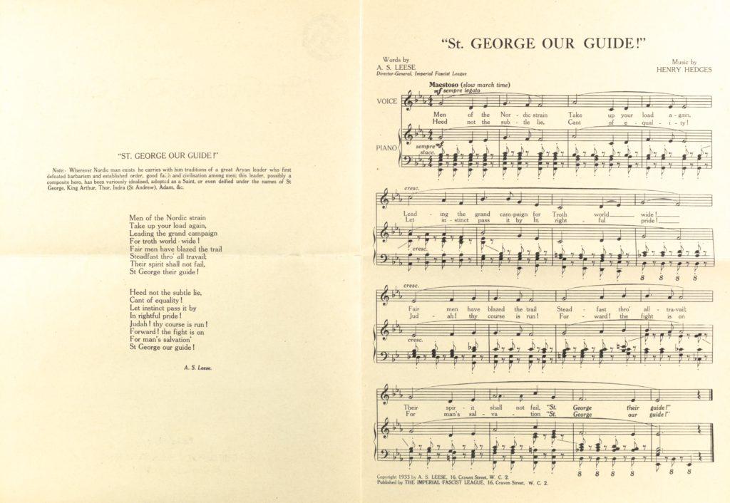 Fascist sheet music, Great britain 1930s