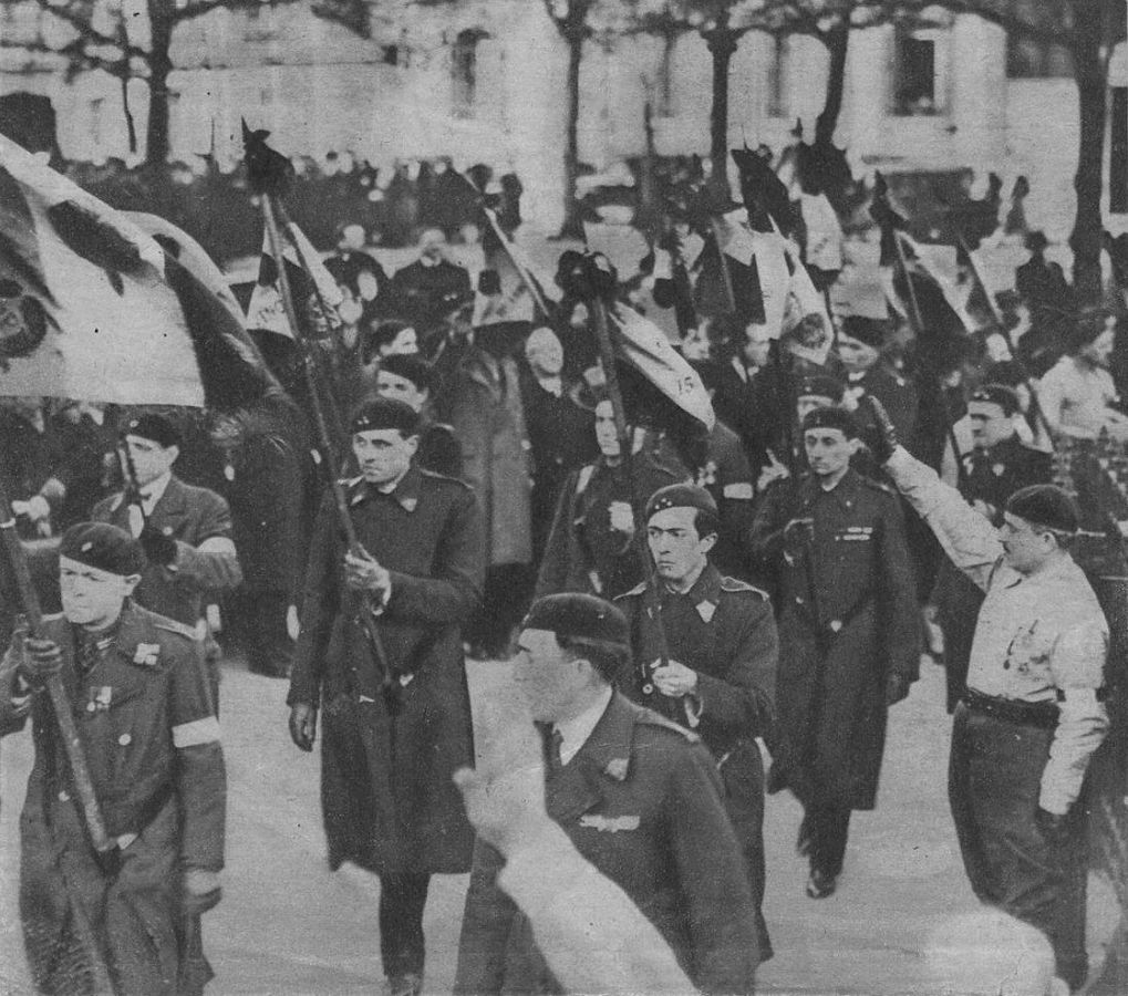 A photograph of a demonstration with flags and men in uniforms