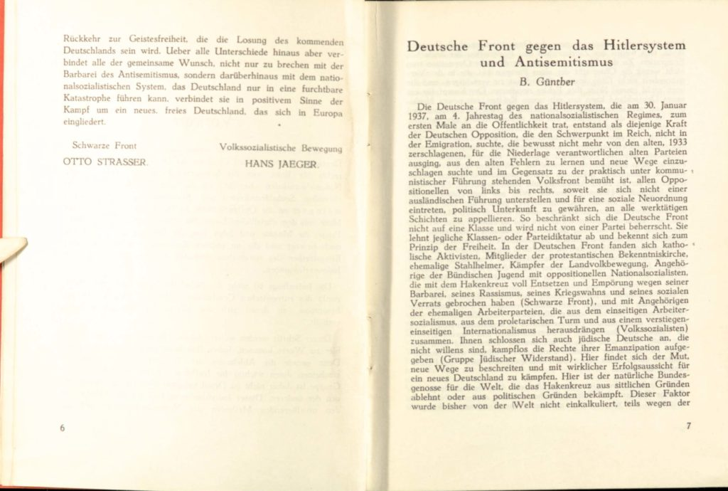 Articles hidden within a secret anti-nazi publication from 1939