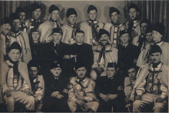 Black and white photograph of fascist meeting 1930s